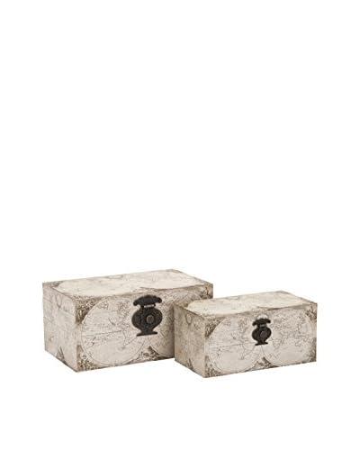 Set of 2 Baker Map Boxes, Ivory