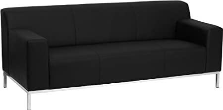 HERCULES Definity Series Contemporary Black Leather Sofa with Stainless Steel Frame