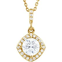 """14kt Yellow 7/8 CTW Diamond Halo-Styled 18"""" Necklace"""