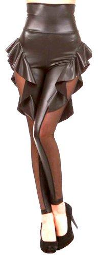 erdbeerloft - Damen Kostüm Halloween Fledermaus Wings Leggings, lederartig Schwarz , S-L