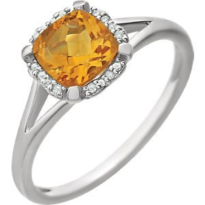 14kt White Citrine & .05 CTW Diamond Ring