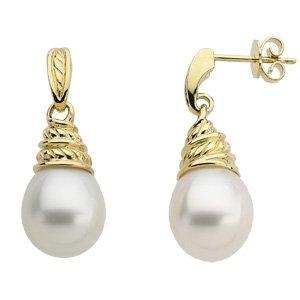 18k Yellow Gold S. Sea Cult. Pearl Earrings Pair/ 11mm Drop - JewelryWeb