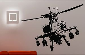 Online Design Army Helicopter Wall Art Sticker Bedroom Kids Childrens Decal - Black