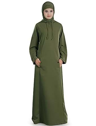 MyBatua Women's Moroccan Hooded Rihana Abaya in Green at Amazon Women