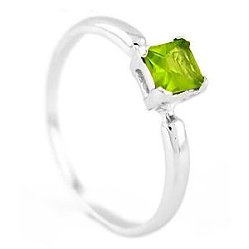 Silver Princess Cut August Peridot Birthstone Child Ring Size 4