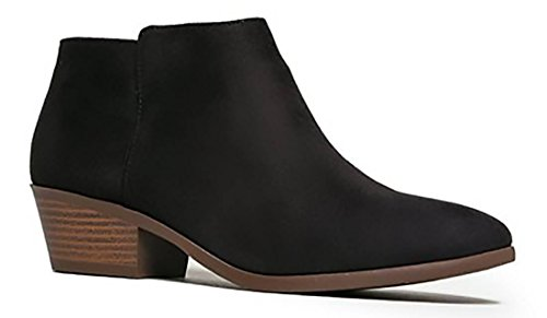 Soda Western Ankle Boot Cowgirl Low Heel Closed Toe Casual Bootie Comfortable Walking Slip on Boot MVE Shoes , MVE SHOES MUG BLACK IM SIZE 10