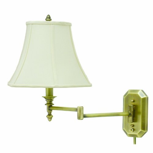 House Of Troy Ws-708-Ab 16-Inch Swing Arm Wall Lamp, Antique Brass With Off-White Softback Shade