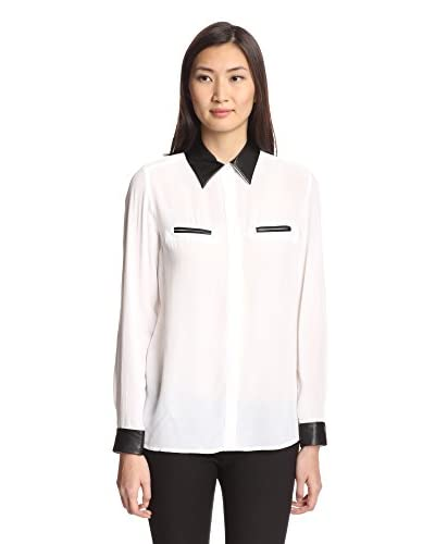 Insight Women's Blouse with Faux Leather  [Winter White]