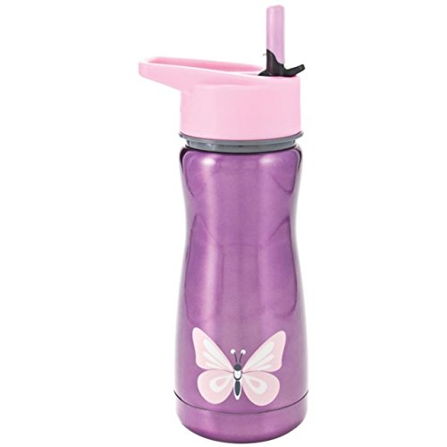 Eco Vessel Discontinued 2014 Frost Kids Discontinued 2014 Insulated Stainless Steel Water Bottle with Flip Straw (13-Ounce, Purple with Butterfly)
