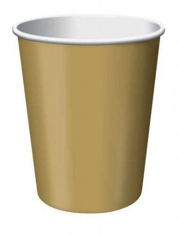 Creative Converting 240 Count Case Touch Of Color Paper Hot/Cold Cups, 9-Ounce, Glittering Gold