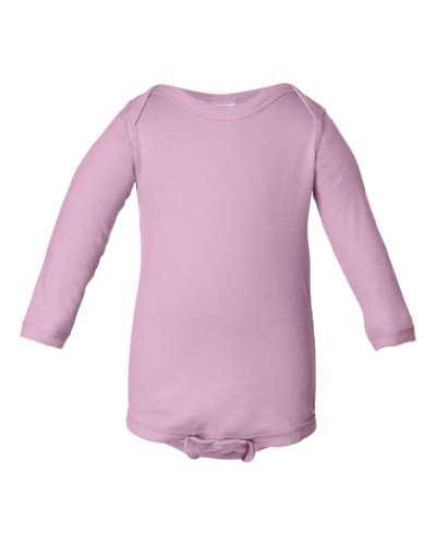 Rabbit Skins Infant Long Sleeve Lap Shoulder Creeper Bodysuit (Pink) (12 Months)