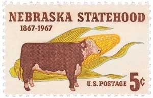 #1328 - 1967 5c Nebraska Statehood U. S. Postage Stamp Plate Block (4)