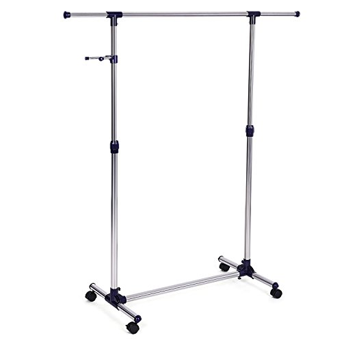 SONGMICS Rolling Clothes Rack Adjustable Garment Rack Portable Hanging Rack for Clothes with Wheels ULLR01L (Foldable Garment Rack compare prices)