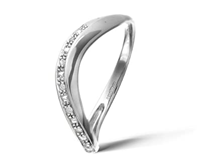 Ariel 9ct White Gold Pave Set Diamond Wave Half Eternity Ring