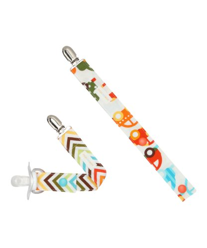 Boys Pacifier Clip Set Of 2 In Cars, Trucks And Wave Stripes front-774480