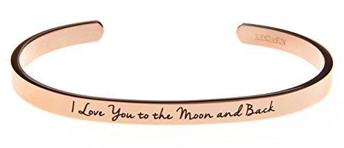 """I Love You to the Moon and Back"" Inspirational Messaged Cuff Bracelet Bangle (Rose Gold)"