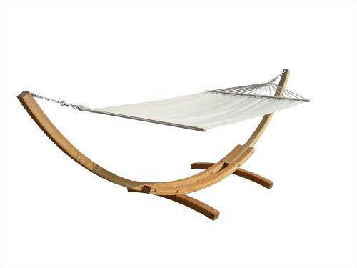 12709 XXl 45KG Holz Hängematte Beige mit Gestell 420x120 cm, 220 kg belastbar, incl. Befestigungsmaterial, Karabiner usw.