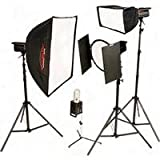 Photogenic PL-600K, 2000ws Solair Powerlight Kit, with Four PL500DRC 500ws Solair Monolights, Stands, Soft Boxes, Reflectors & Barndoors (PL600K)