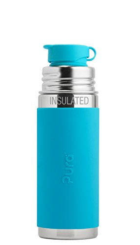 Pura Sport 9 oz Stainless Steel Insulated Kids Sport Bottle with Silicone Sport Flip Cap, Aqua (Plastic Free, NonToxic Certified, BPA Free) (Baby Sport Bottle compare prices)