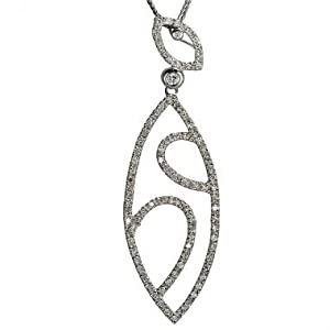 Diamond Pendant With Open Marquise Shape And 0.70cts Pave Set Fine White Diamonds In Solid Sterling Silver