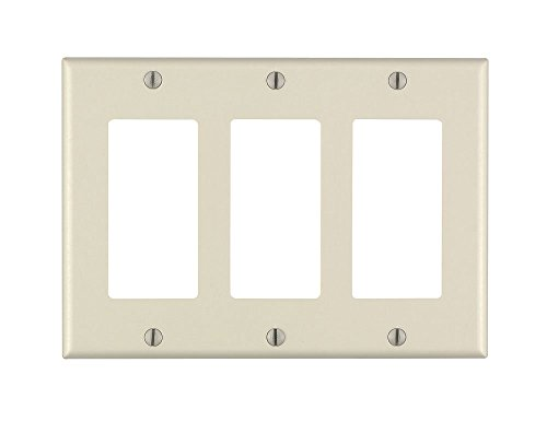 Leviton 80411-A 3-Gang Decora/GFCI Device Decora Wallplate, Standard Size, Thermoset, Device Mount, Almond