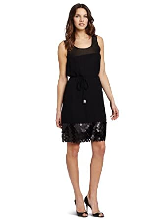 Gabby Skye Women's Social Fringe Treatment Dress, Black, 8 Missy