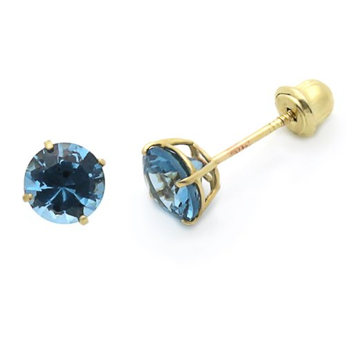 14K Yellow Gold Round 5mm Birthstone CZ Stud Earrings For Babies & Teens (December, Blue Topaz)