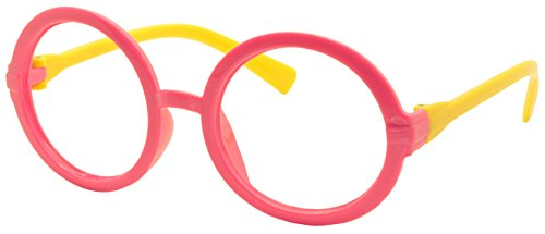 FancyG® Retro Geek Nerd Style Round Shape Kids 3-12 Glass Frame NO LENSES - Pink Yellow