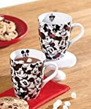 Set of 2 Disney Mickey Minnie Mouse Coffe Cups Mugs Porcelain 13 Ounces