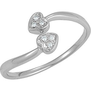 Genuine IceCarats Designer Jewelry Gift Sterling Silver Diamond Heart Ring. Size 7.00 Diamond Heart Ring In Sterling Silver Size 7.00