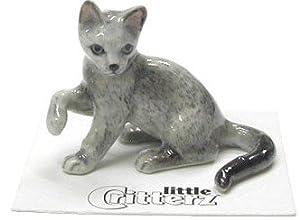 """CAT RUSSIAN BLUE Kitten """"Silver"""" lifts paw MINIATURE Porcelain NEW Figurine Little Critterz LC909"""