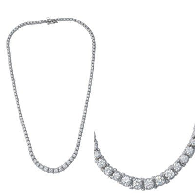 14k White Gold Diamond Necklace – JewelryWeb