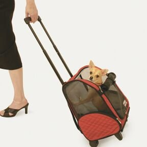 Wheel Around Travel Pet Carrier in Khaki from Snoozer Pet Products