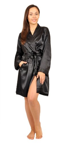 Satin Robe, Five Color Choices, Sizes (S, M, L, XL, 2X), Up2date Fashion Style#Gwn11 (Small, Black)