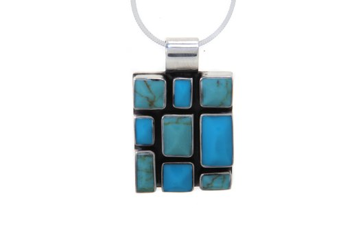 Tianguis Jackson Sterling Silver Pendant Synthetic Turquoise 18' Chain
