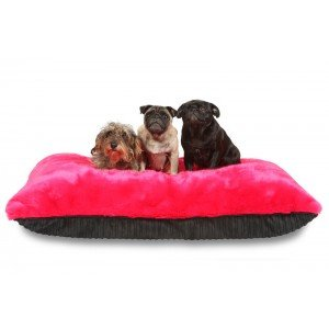 Comfortable Plush Duvet Dog Bed - Removable Velcro Cover, Red
