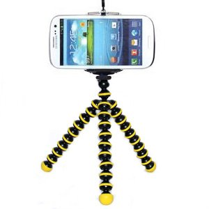 CellCase Octopus style Portable Adjustable Tripod Stand with Retractable Holder for Apple iPhone 3G 3GS 4 4s iPhone 5 5c 5s Samsung Galaxy s3 i9300 s4 i9500 (Black & Yellow)