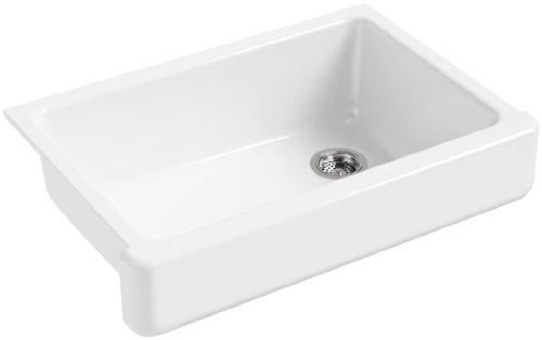 KOHLER K-5826-0 Whitehaven Self-Trimming Under-Mount Single-Bowl Sink with Short Apron, White