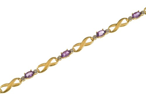 0.05 Carat Diamond, Amethyst and Alexandrite Prong Setting Bracelet in 9ct Yellow Gold