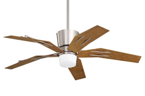 Emerson Cf3000Bs Origami Indoor/Outdoor Ceiling Fan, 52-Inch Blade Span, Brushed Steel Finish, All-Weather Aged Pine Blades And Opal Matte Glass
