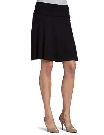 Three Dots Women's Viscose Lycra Fold Over Knit Skirt, Black, X-Small