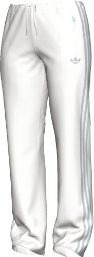 adidas Women's adi Firebird Track Pant (White, Metallic Silver, Medium)