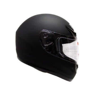 TMS Flat Matte Black Full Face Motorcycle Street Sport Bike Helmet (Large)