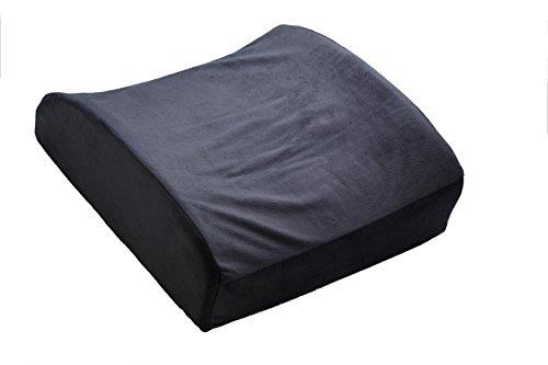 LuxFit Premium Back Support Lumbar Soft Seat Cushion 100% Memory Foam – 2 Year Warranty (Grey)