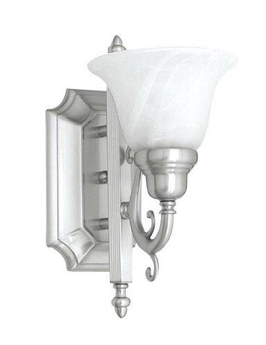 Lovely Livex Lighting S French Regency One Light Bath Bar Brushed Nickel Finish with White Alabaster