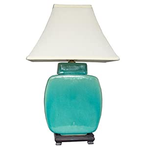 "Southwest Turquoise Décor - 20"" Azure Glazed Ceramic Jar Desk / Table Lamp - JCO-X4014"