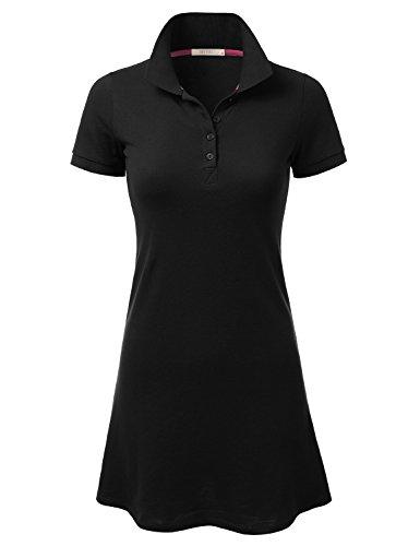 DRESSIS Women's Short Sleeve Polo Shirt Mini Shift Dress BLACK M