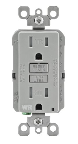 Leviton Wt599-Gy 15-Amp 125-Volt Smartlock Pro Slim Weather-Resistant And Tamper-Resistant Gfci Receptacle, Grey