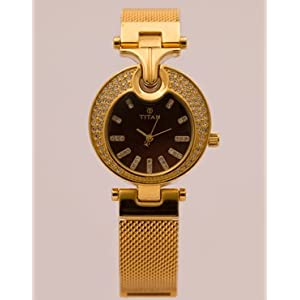 Titan Womens Gold Tone Bracelet Watch