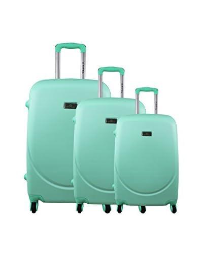 ZIFEL Set de 3 trolleys rígidos Verde Agua